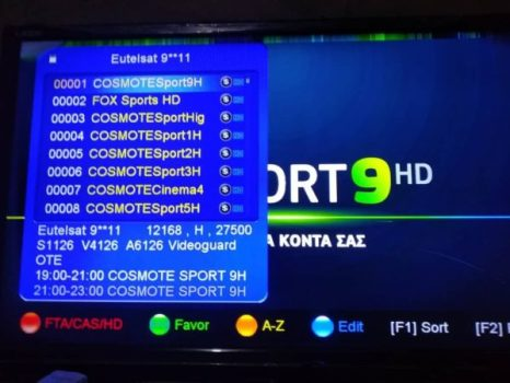 Cosmote Sport Frequency, Position On Eutelsat 9A At 9E
