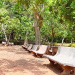 Stone bench at park