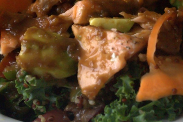 Kale & Quinoa Ginger Sesame Salad with Salmon