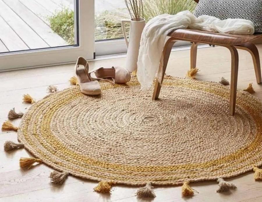 שטיח חבלים קונטור צהוב בוהו שיק