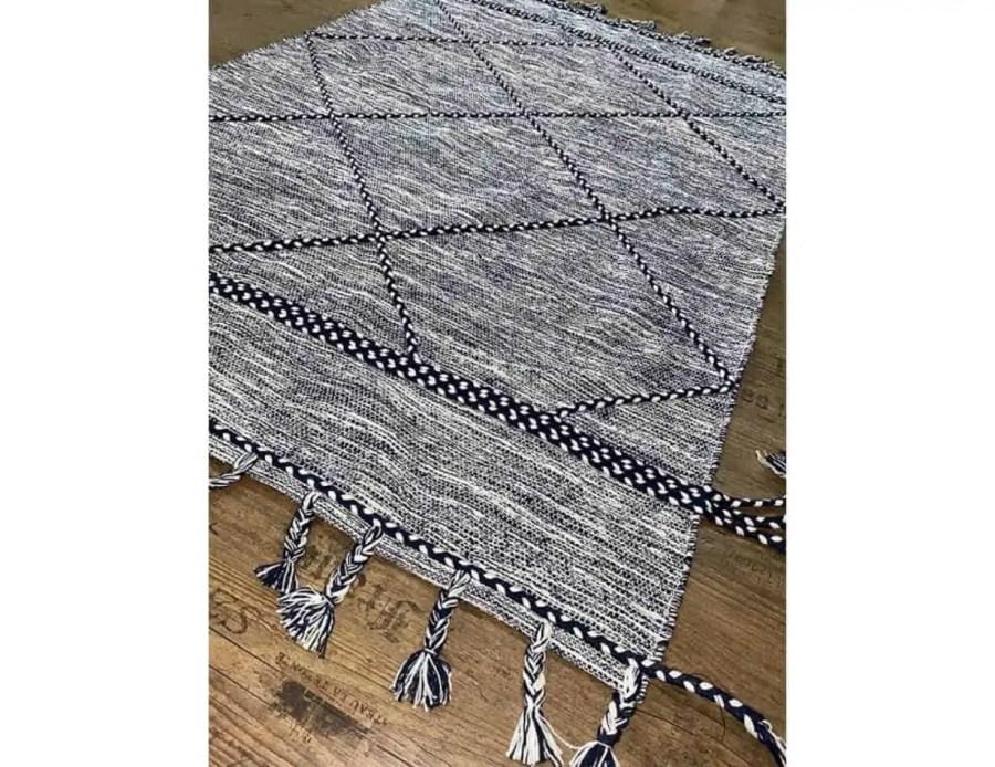 שטיח כותנה כחול יהלום בוהו שיק