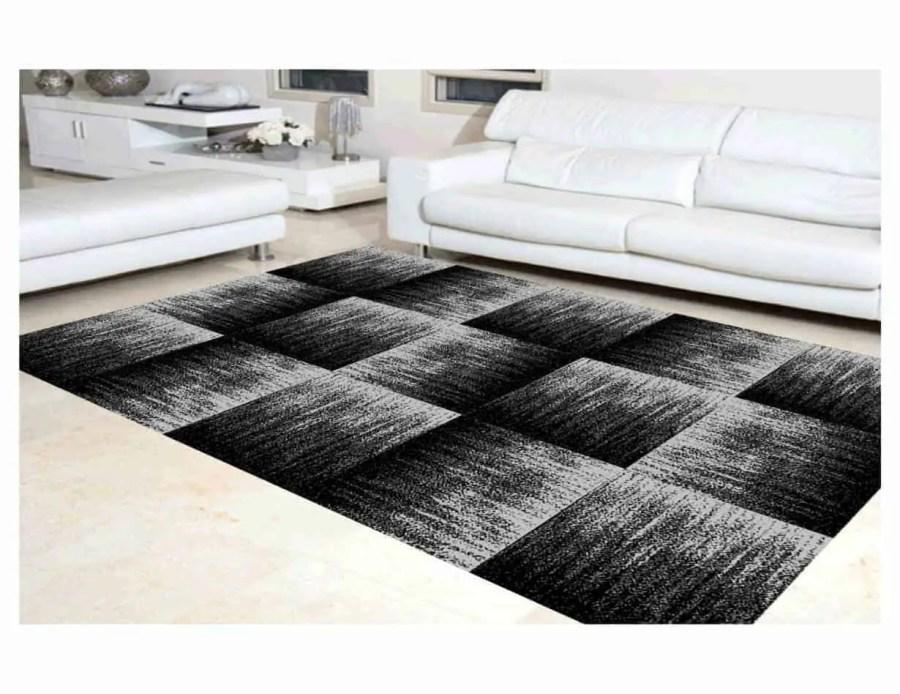 שטיח מודרני לסלון N1452A שחור אפור