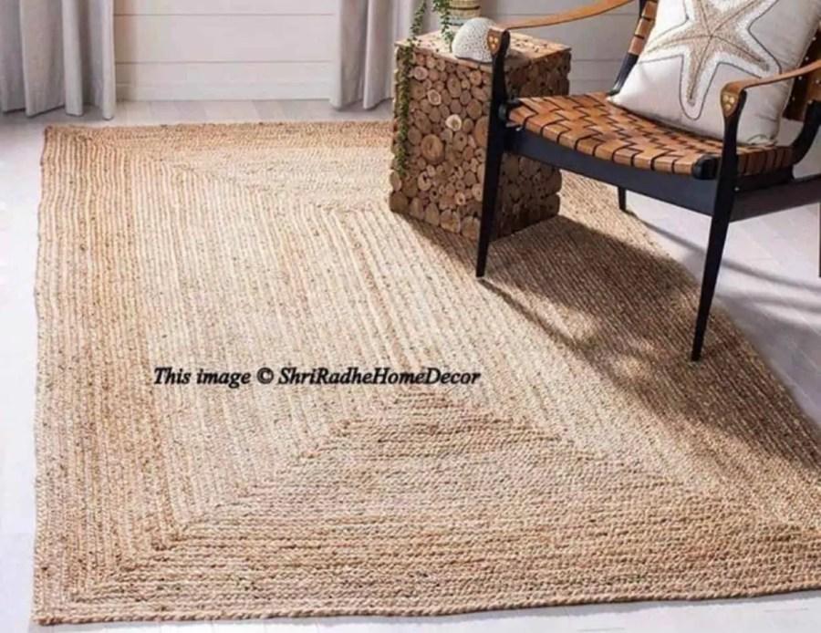 שטיח מלבנים חבלים הודי בוהו שיק