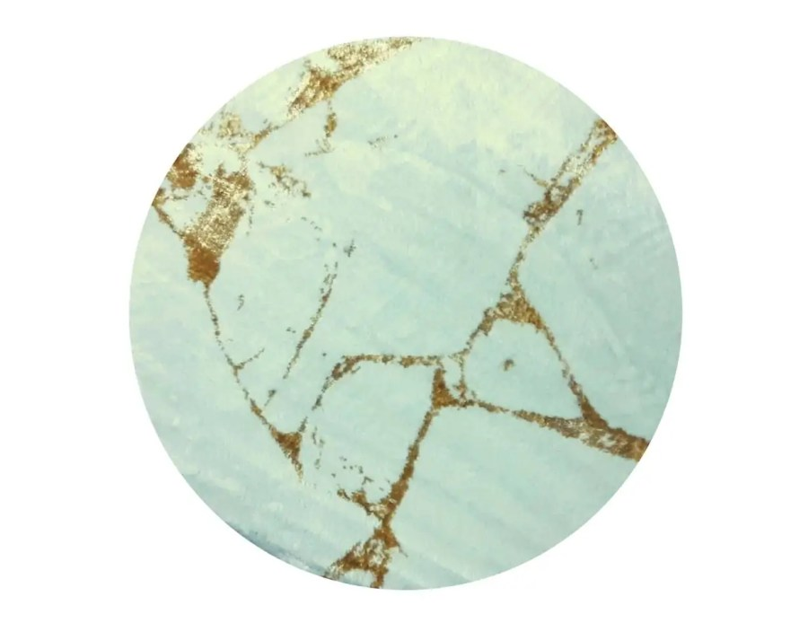 שטיח בד עגול לסלון לבן זהב