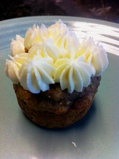 Zucchini Mini-Muffins with Cheesecake Frosting