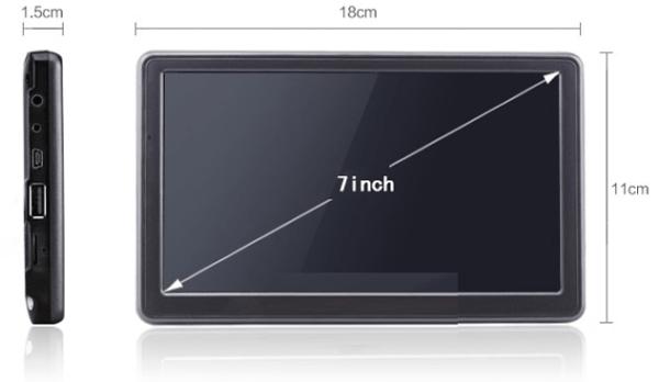 SatNav Screen Sizes