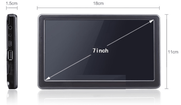 SatNav Screen Sizes