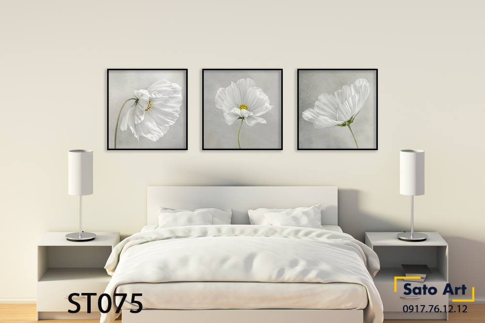 Bộ 3 tranh bông hoa đẹp