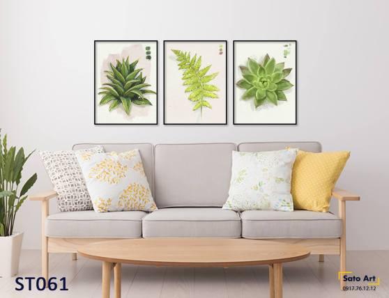 Tranh sơn dầu lá xanh 3 tấm