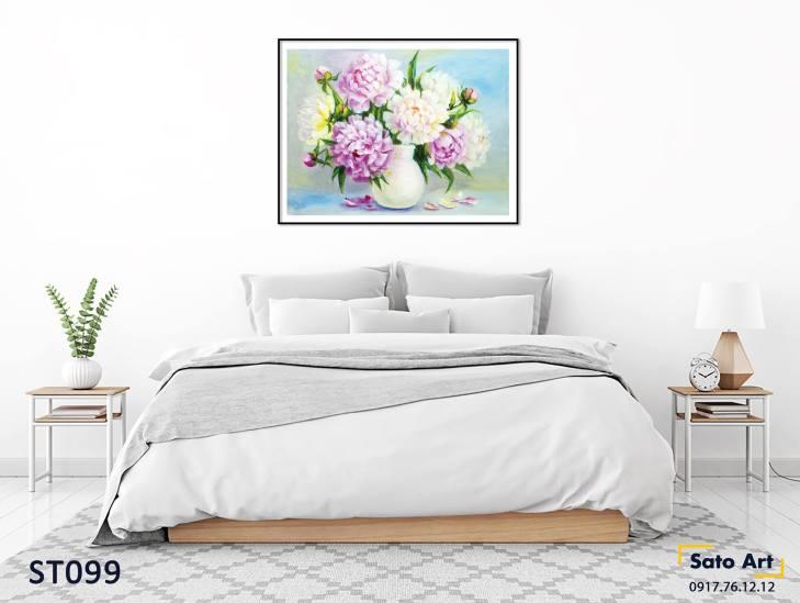 Tranh sơn dầu hoa đơn giản
