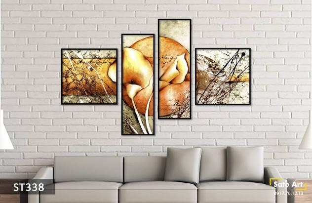 Bộ 4 tranh tulip ấn tượng