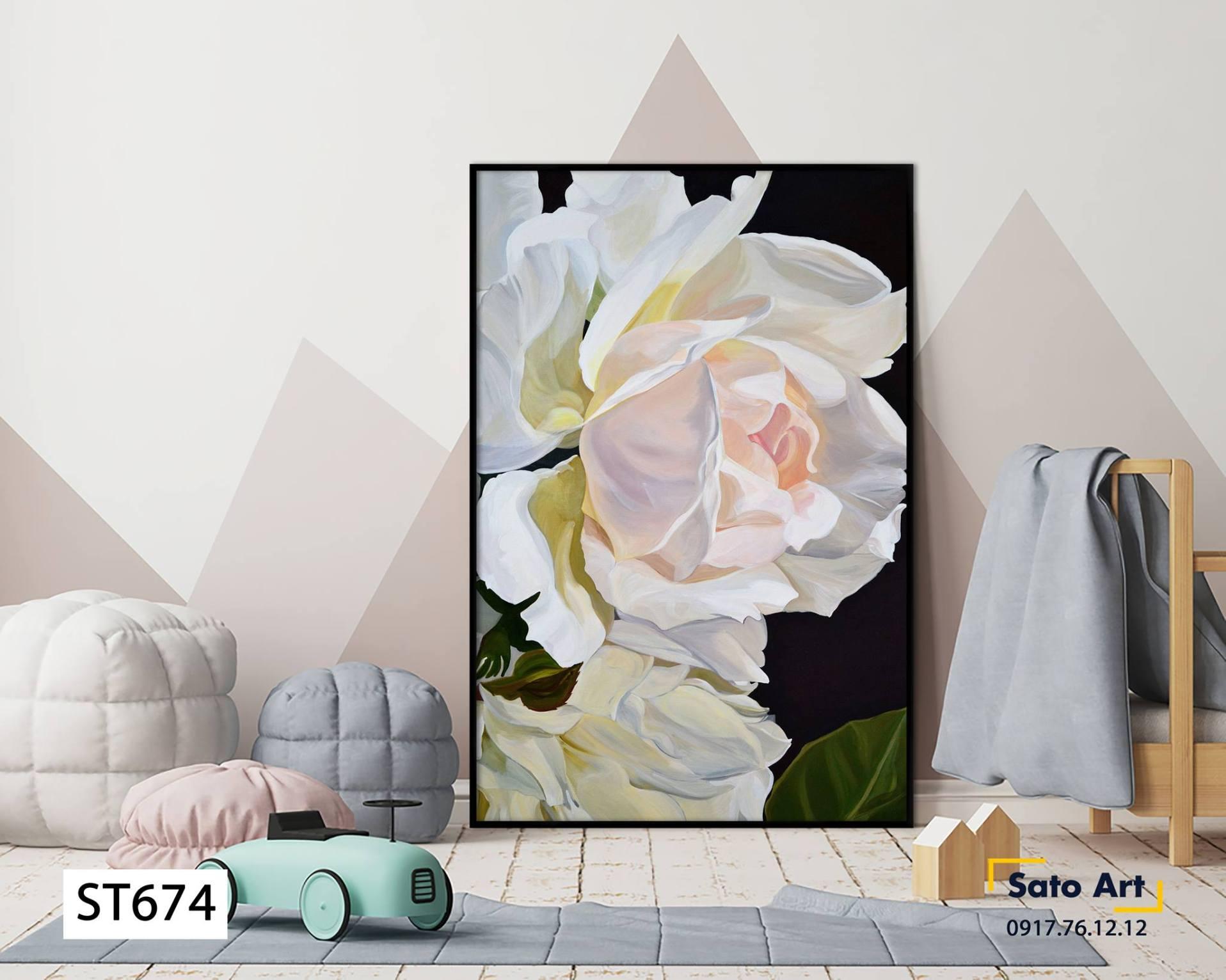 Tranh bông hoa mẫu đơn trắng