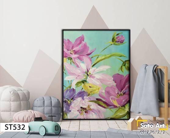Tranh nghệ thuật sơn dầu bông hoa