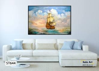 Tranh sơn dầu chiêc thuyền