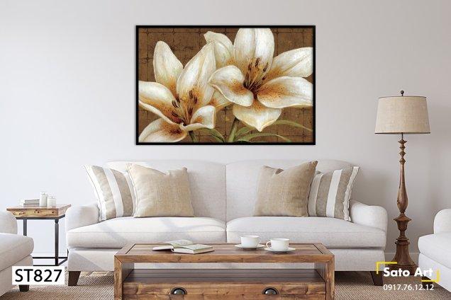 Tranh hoa lyly trắng