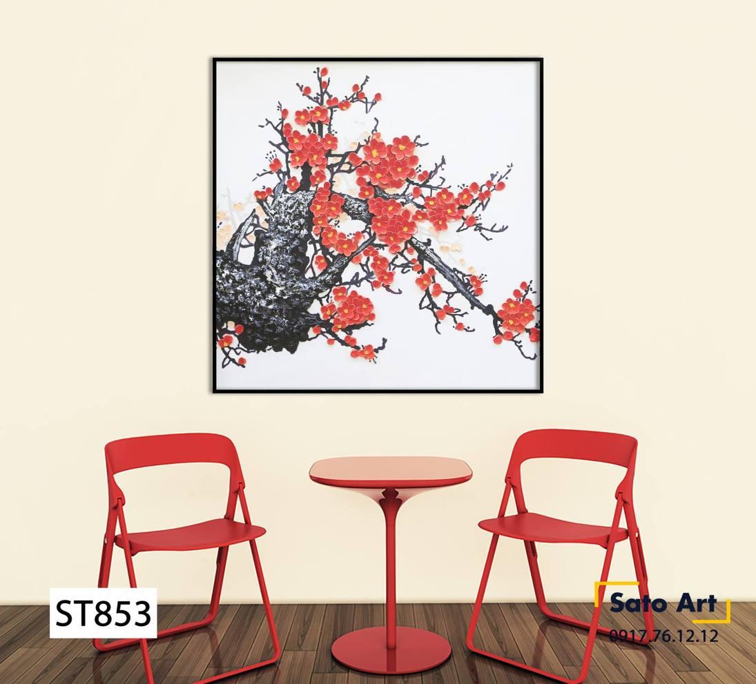 Tranh sơn dầu vẽ hoa mai đỏ