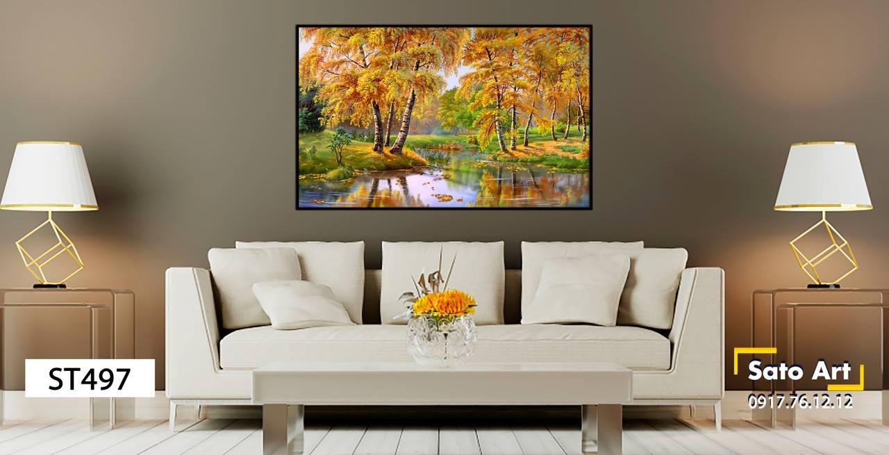 tranh sơn dầu khu rừng lá vàng