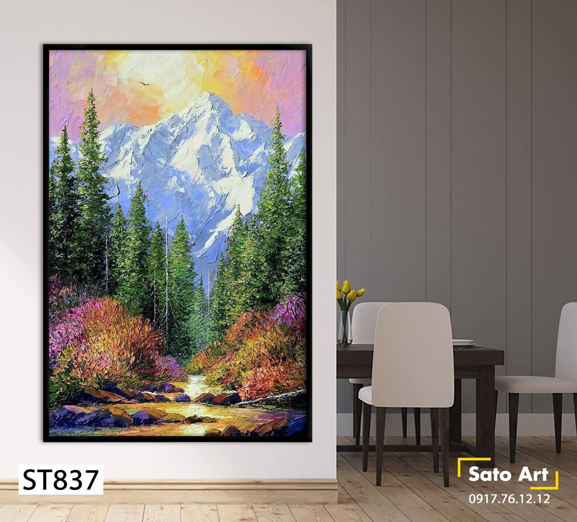 Hình ảnh tranh sơn dầu núi rừng