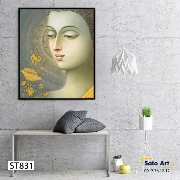 Tranh Phật hoa sen phong thủy