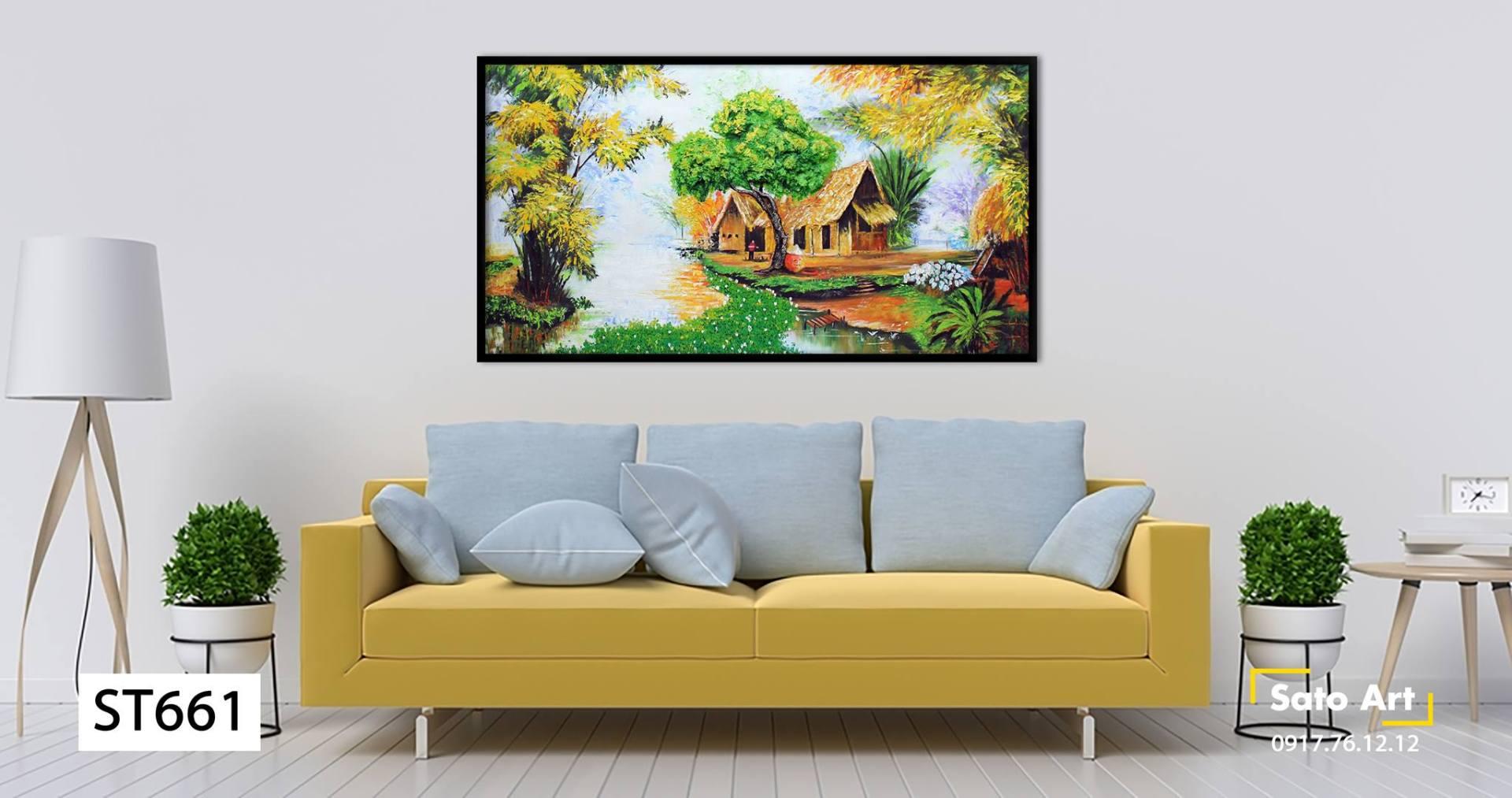 tranh ngôi nhà làng quê