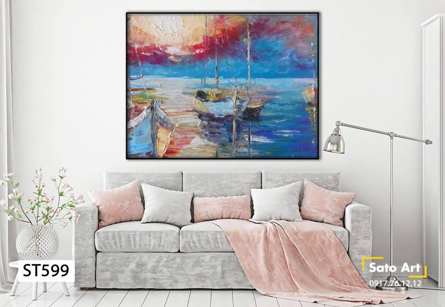 Tranh tàu bè trên sông