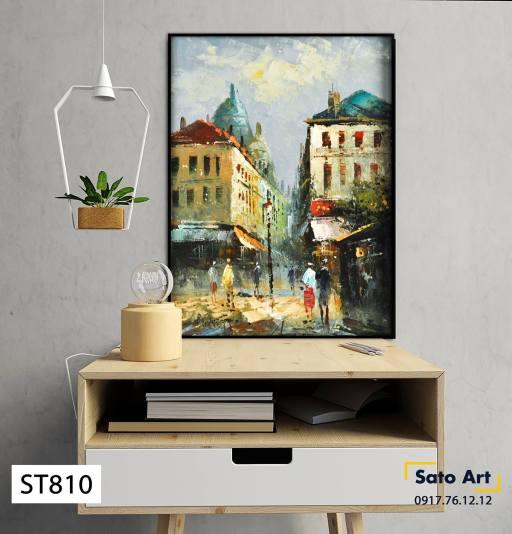 Tranh sơn dầu phong cảnh thành phố