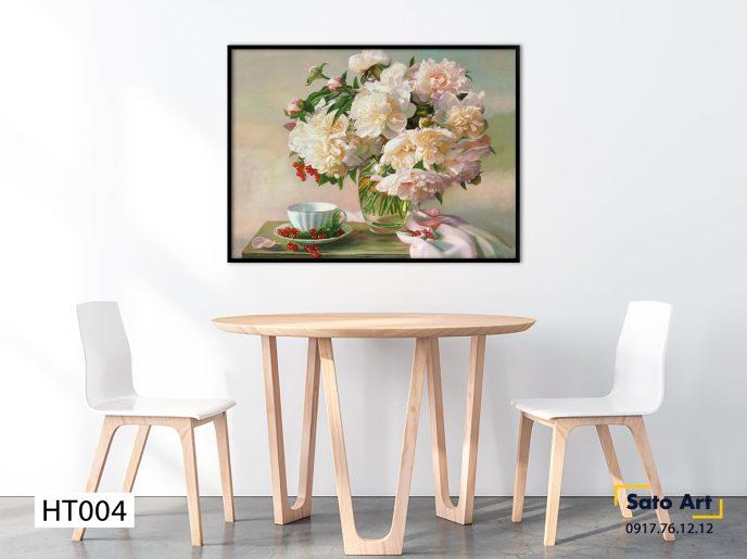 Tranh vẽ bình hoa treo tường đẹp