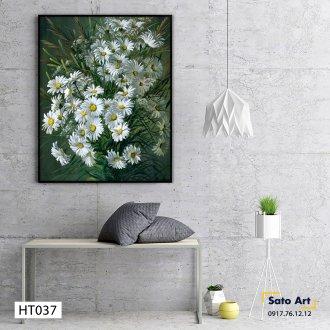 Tranh sơn dầu hoa cúc sáng tác