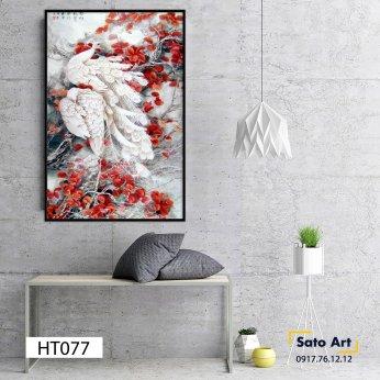 Tranh sơn dầu đôi chim decor