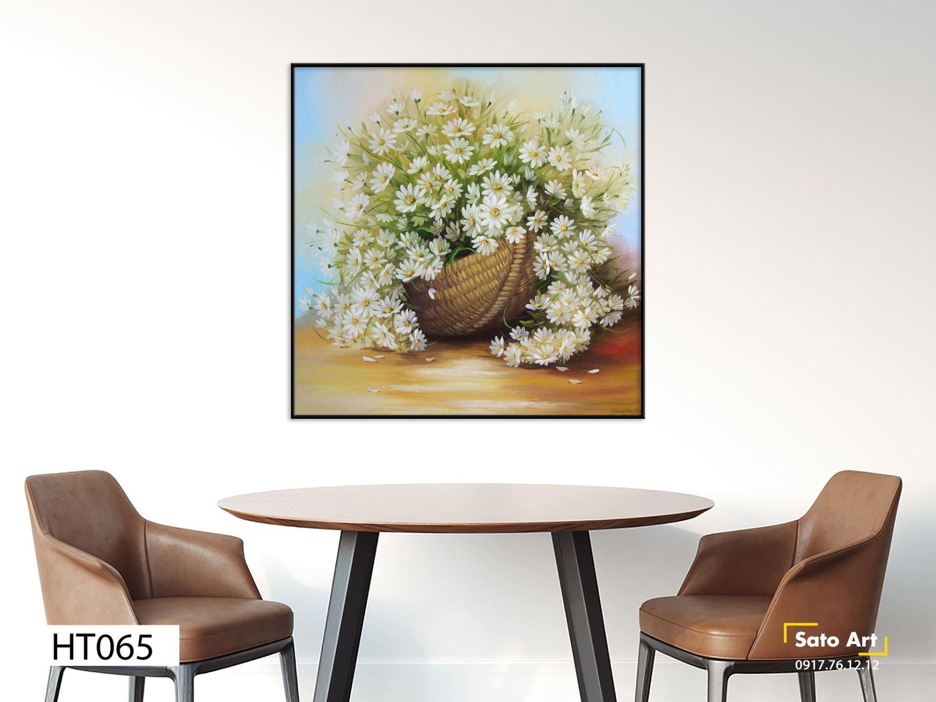 tranh giỏ hoa cúc trắng