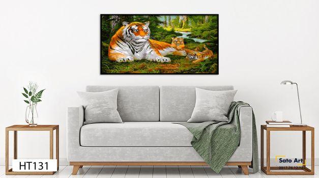 Tranh sơn dầu hổ mẹ và con