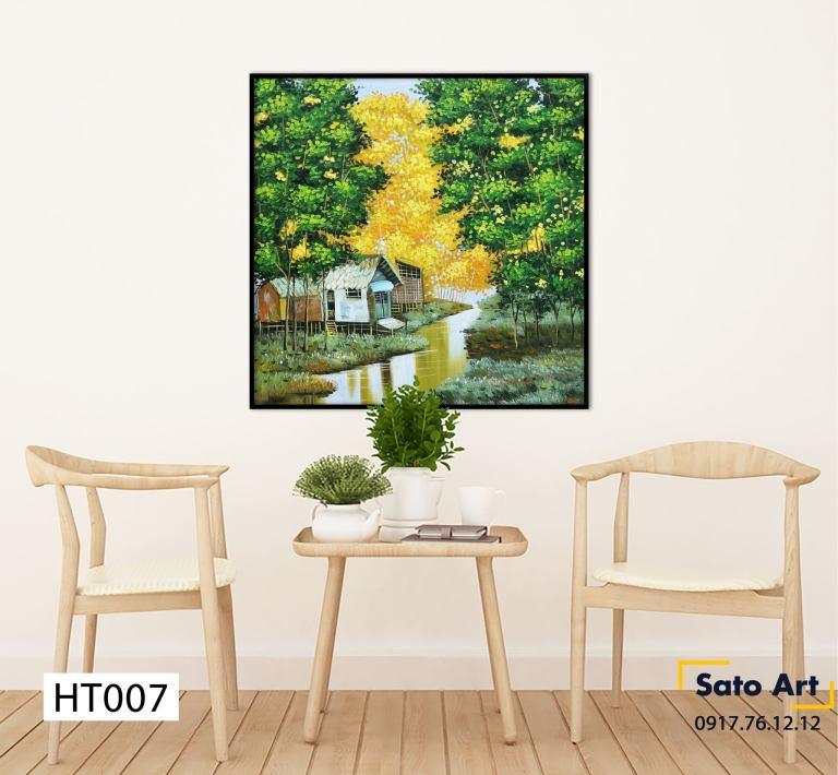Tranh sơn dầu khu làng ven sông ở Huế