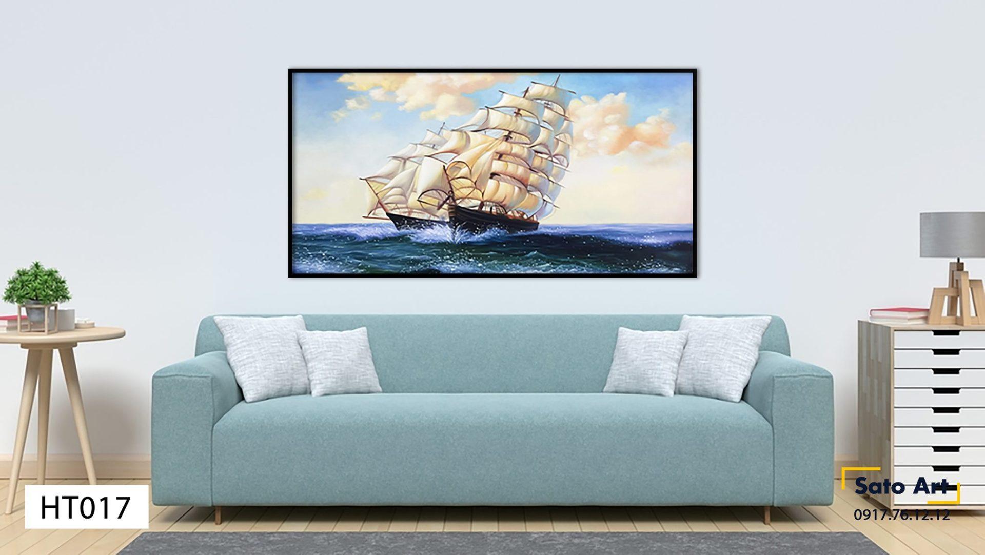 tranh thuyền buồm vươn mình ngoài biển khơi