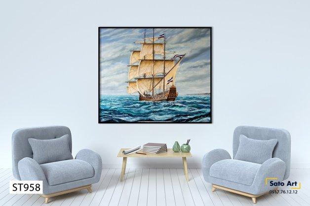 Tranh sơn dầu thuyền buồm