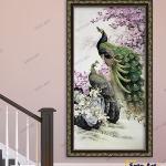 Tranh Đôi Chim Công Quấn Quýt