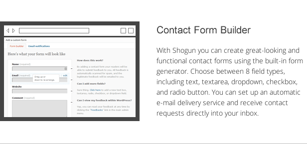 shogun features - contact form builder