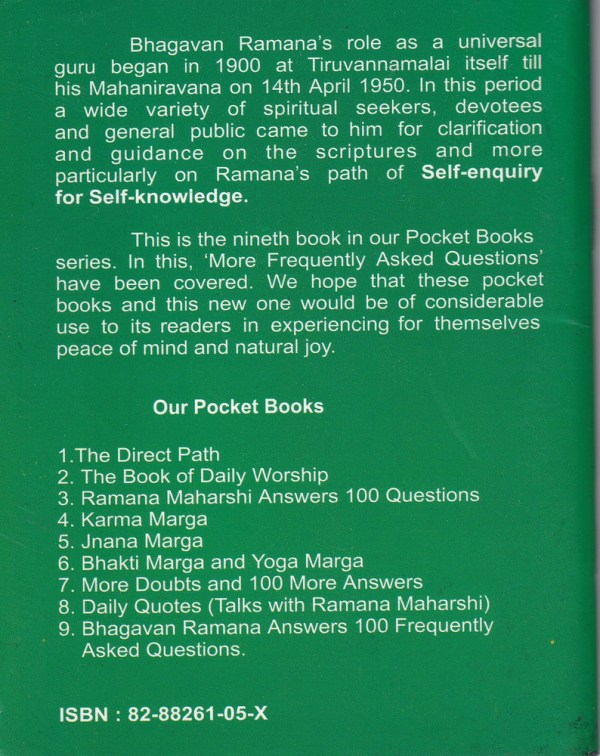 Bhagavan Ramana Answers 100 FAQ Backcover