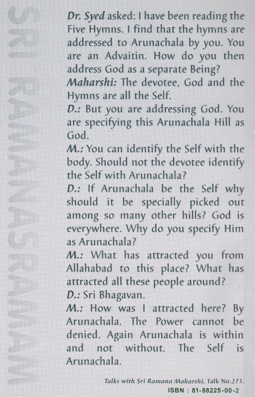 Five Hyms to Arunachala-Back Cover