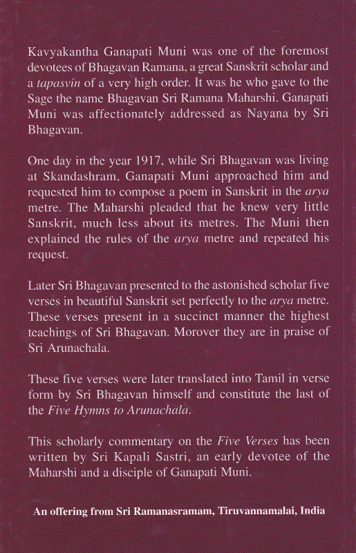 The Cardinal Teaching of the Maharshi-Back Cover