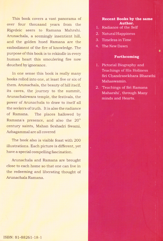 Arunachala from Rigveda to Ramana Maharshi (Paperback) - Back Cover