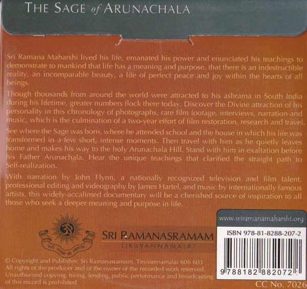 The Sage of Arunachala DVD Back