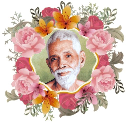 Sri Ramana Maharshi with flowers