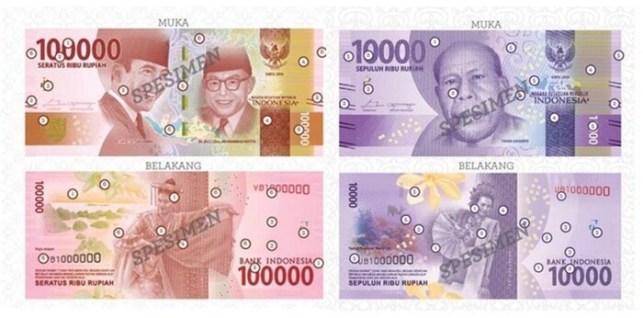 uang baru indonesia pecahan 100000 dan 10000
