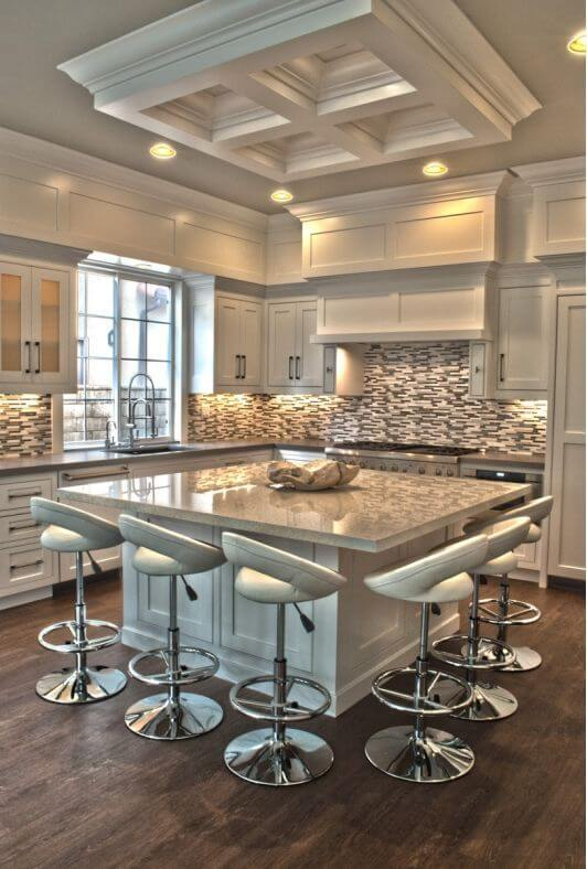 square kitchen island design