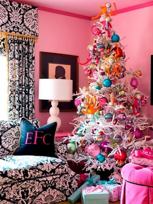 Pink Christmas Room Decoration Ideas with Colorful Tree - hgtvcom
