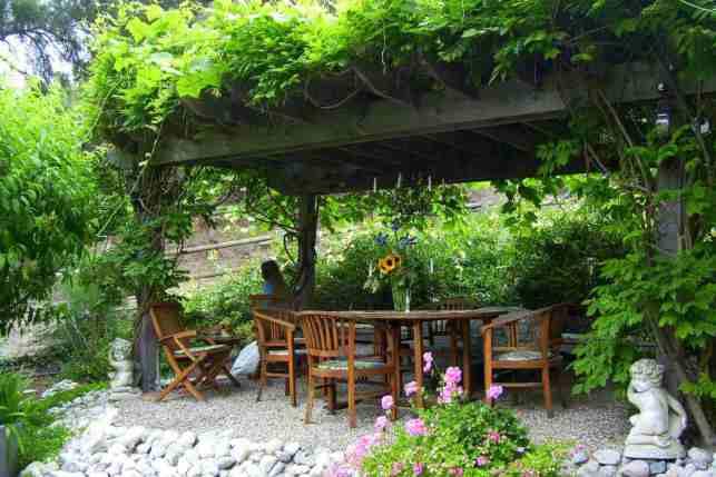 Backyard Gazebo with Leafy Canopy - thesprucecom