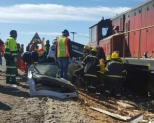 LOOK | Train and truck collides leaving two men injured near Welkom