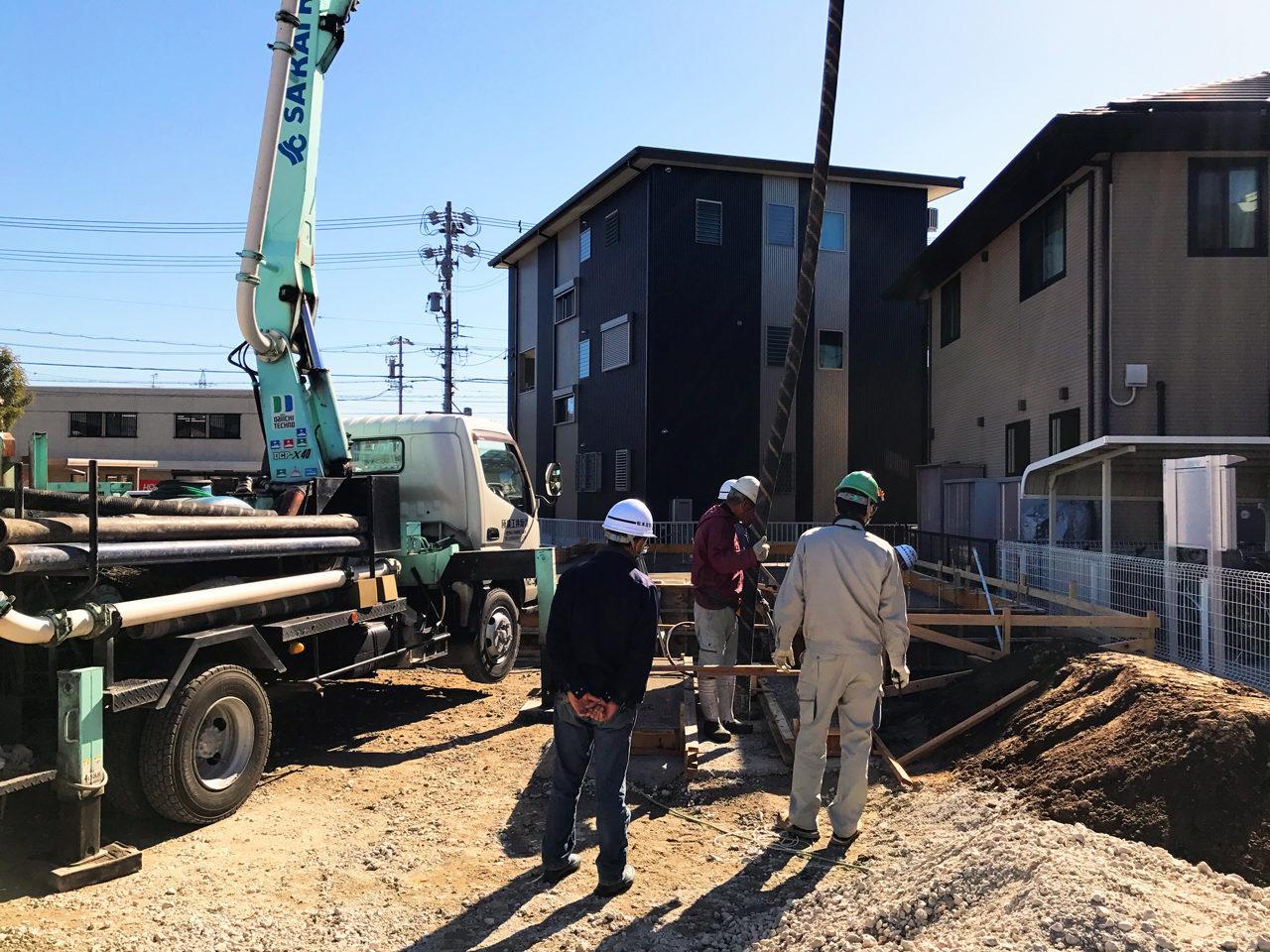 設計・デザインをさせていただいた店舗(鍼灸接骨院)付き住宅の基礎コンクリート打設