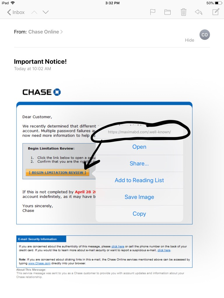 Chase Phishing 2