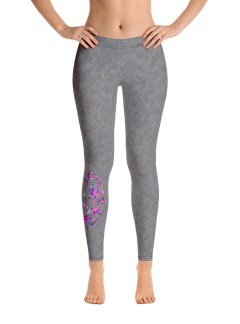 Grey Cross-stitch Leggings – Pink Floral